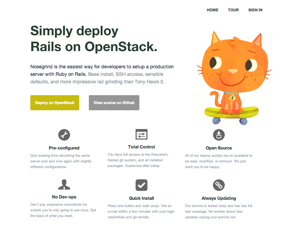 Rails Grind logs into your Amazon or Rackspace account and builds you a ready to go production server with your rails app. Then subsequent deploys are just as easy as a git push with 24/7 root access to your server. All you need is your ssh keys for login and your git repo, we do everything else. Never launched but the code is freely available. Role: Built entire application, had a designer help with the front end and layout(s).
