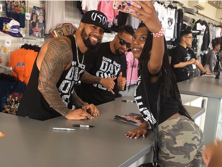 Couple goals? Ebony caught getting a selfie off with The Usos.