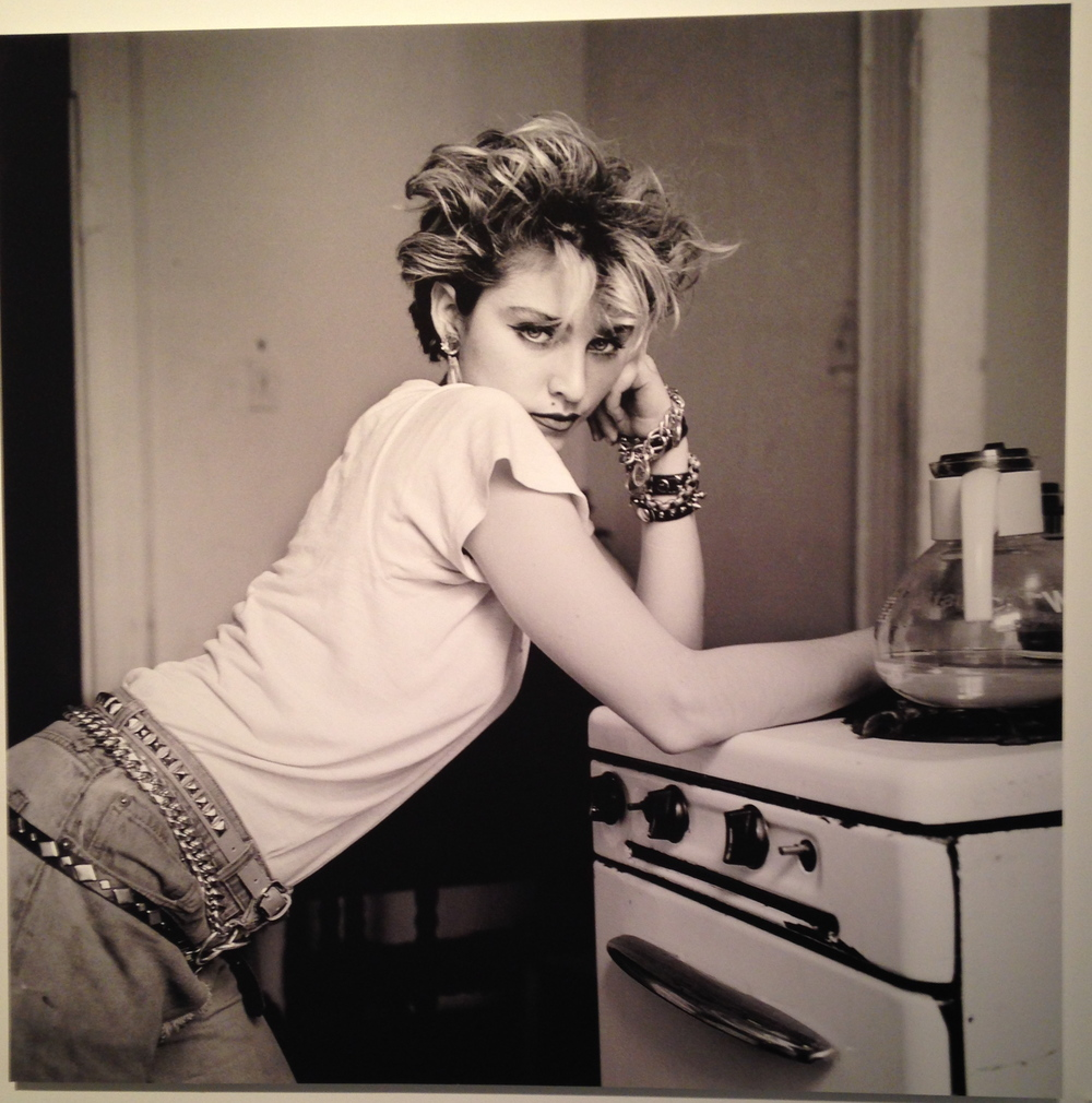 Madonna posing in her kitchenette for photographer Richard Corman