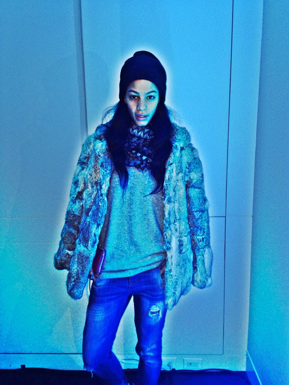 Vintage Fur Coat,Zara Jeans, Converse,Prada Clutch, Uniqlo Cashmere, Scarf Missoni