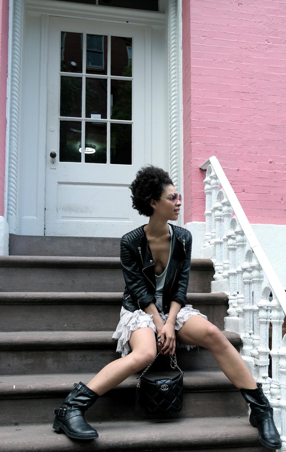 Icons leather, Isabel Marant skirt, T-Wang tank, Chloe' moto boots