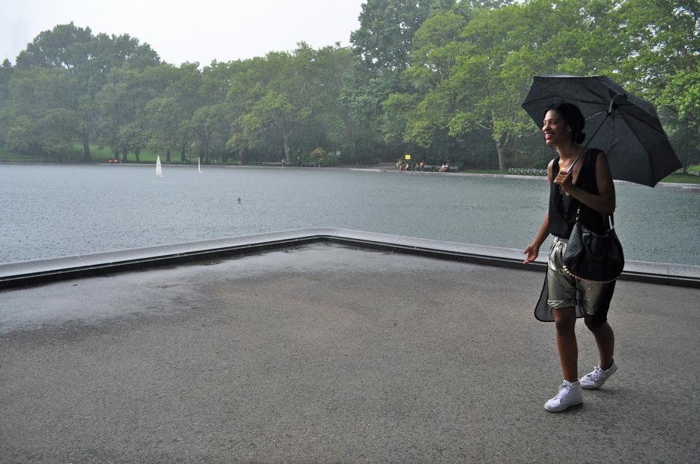 I wore: Phillip Lim metallic shorts, dirty Vanz, Alexander Wang leather bra, H&M sheer cape, miu miu sunnies on head