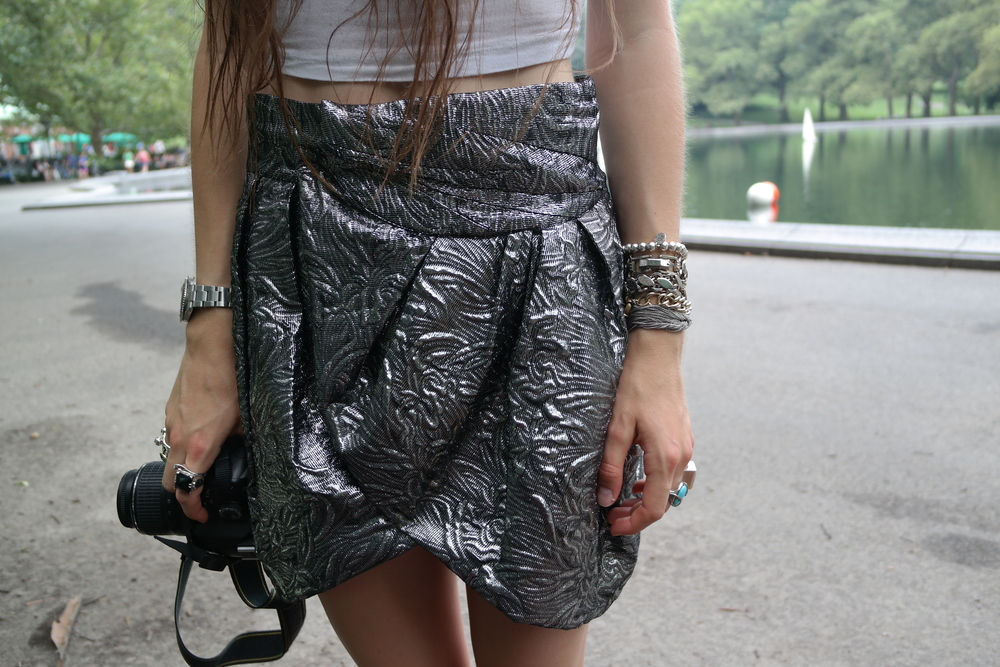 Kerrin of CatID wearing the perfect Isabel Marant metallic skirt fresh from Berlin!