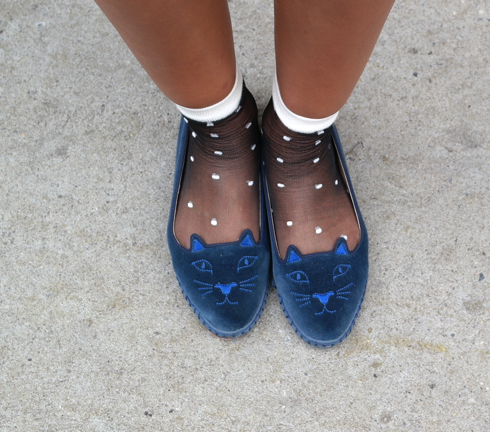 Charlotte Olympia Cat Flats + American Apparel Sheer Poka Dot Socks
