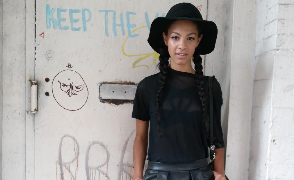 Hat; Free People, bra; Agent Provoc, Tee Alexander Wang, Shorts; Zara, Bag Alexander Wang