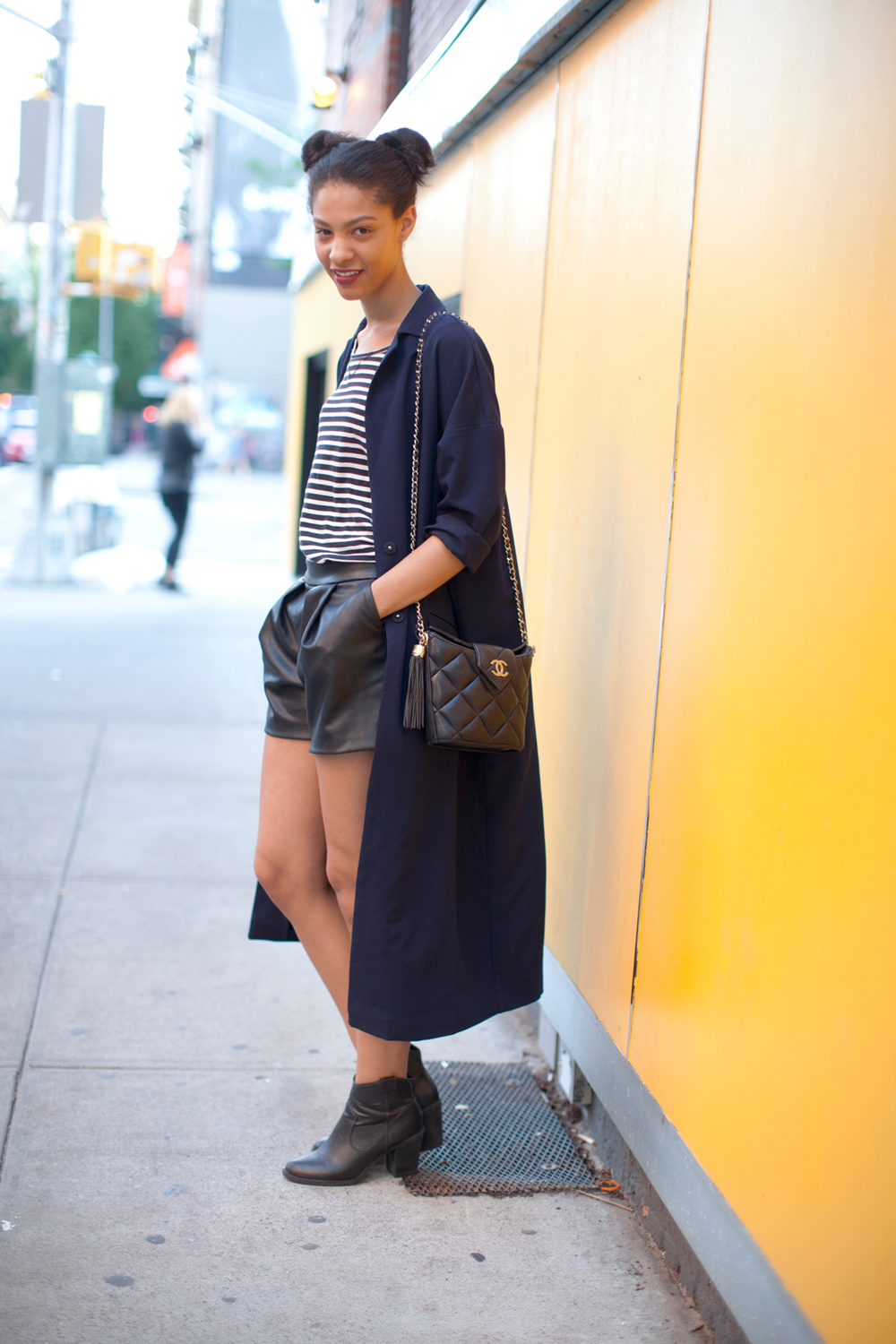 Thanks Refinery ! I wore Asos Overcoat, J.Crew Sailor Top, Zara vegan leather shorts, Chanel bucket bag, H&M boots