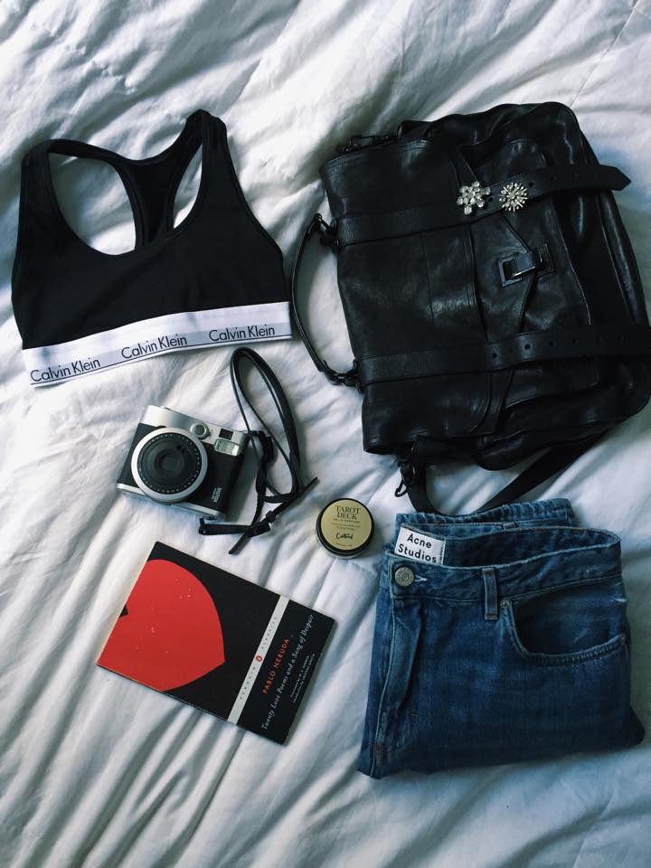 My Calvins Bralette,Proenza PS1, Instax90 Camera, Acne Pop jeans, Pablo Neruda Love Sonets, CatBird solid perfume in Tarot Deck <3