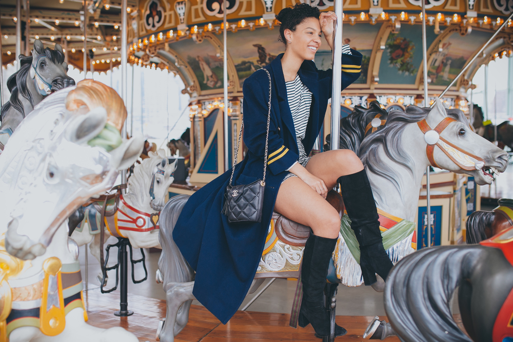 I wore Zara, Shirt, Shorts & Boots :)! Christian Dior Coat, Vintage Chanel Bucket Bag