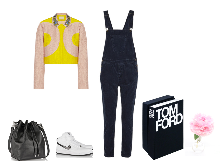 Top; Mary Katrantzou, Nike Air Force, Tom Ford Coffee Table Book, Vintage Levis Overalls, Proenza Bag,