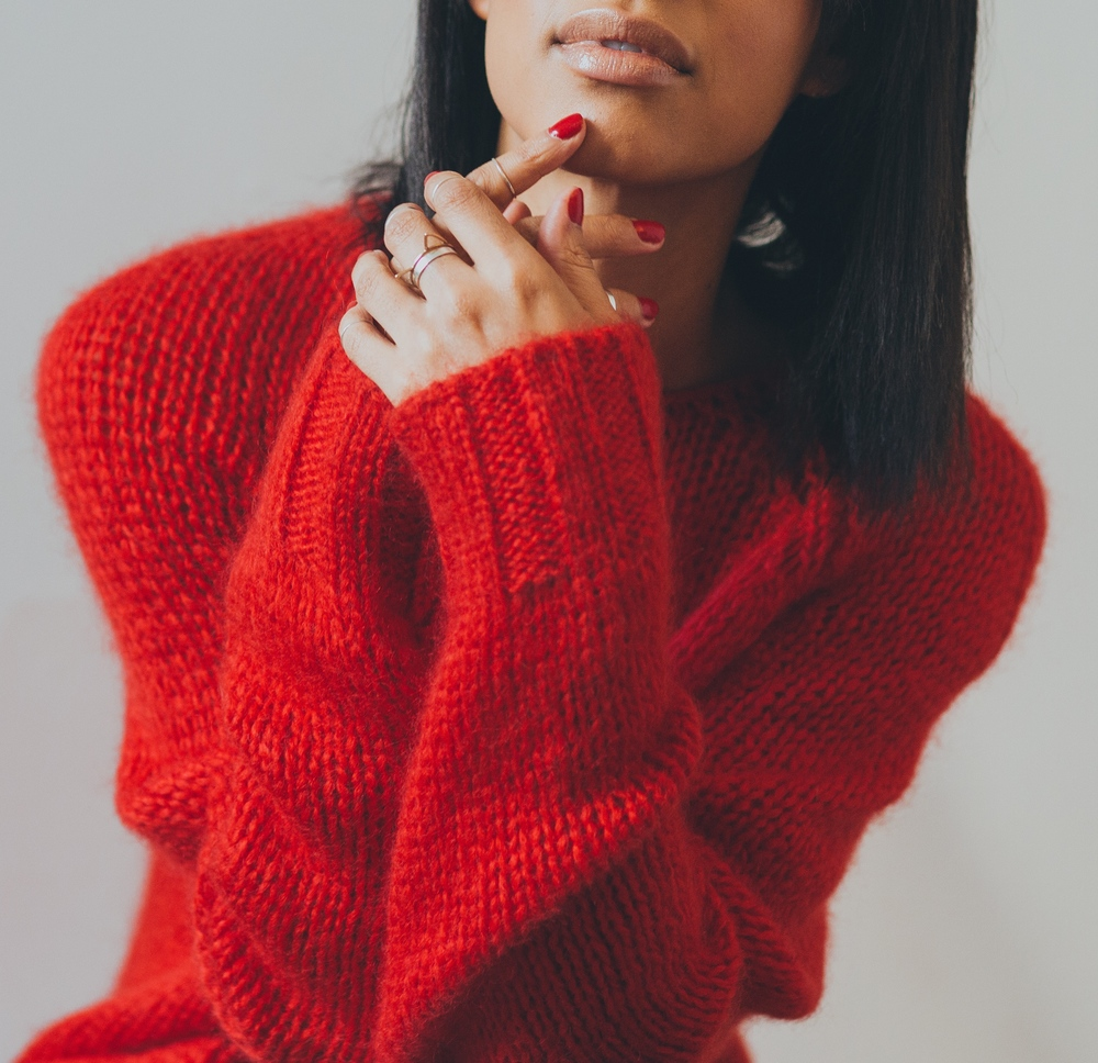 Red Marni Sweater + Catbird Rings + D.Lippman Nail Color in Its Raining Men