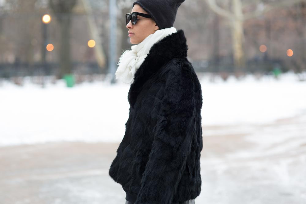I wore Alexander Wang leather leggings, vintage Fendi tulle skirt, Acne black sweatshirt, Zara scarf, Celine sunglass, Zara boots, Vintage black rabbit fur coat, AA hat