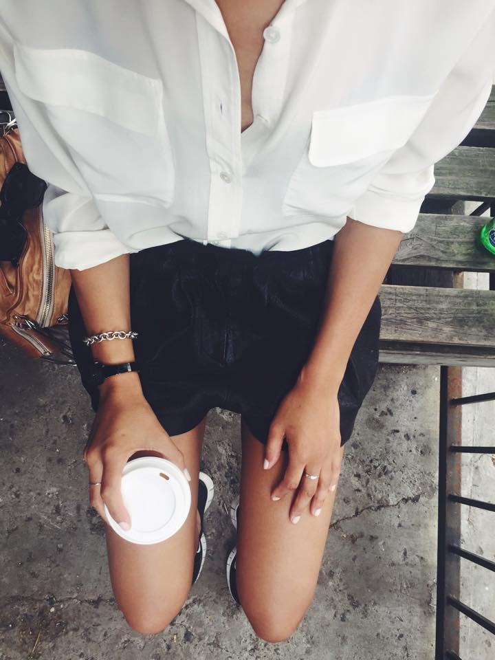 Isabel Marant Leather Shorts, YSL White Shirt, Movado Black Watch, Tiffany's Silver Bracelet, Nike Frees, 9th Street Espresso