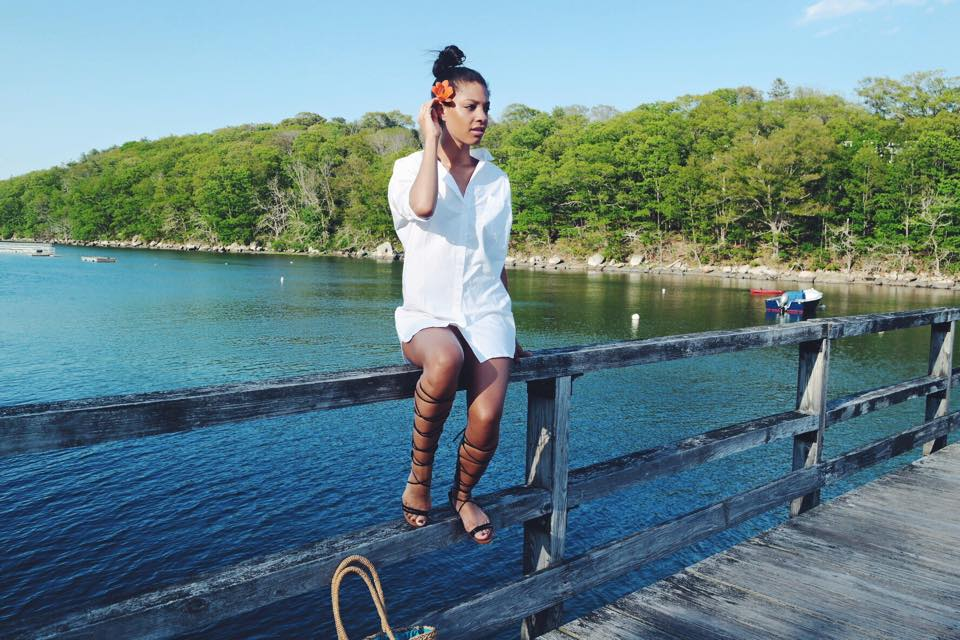 Claire Leana Millar Summer Look on the water wearing Nasty Gal White Button Up