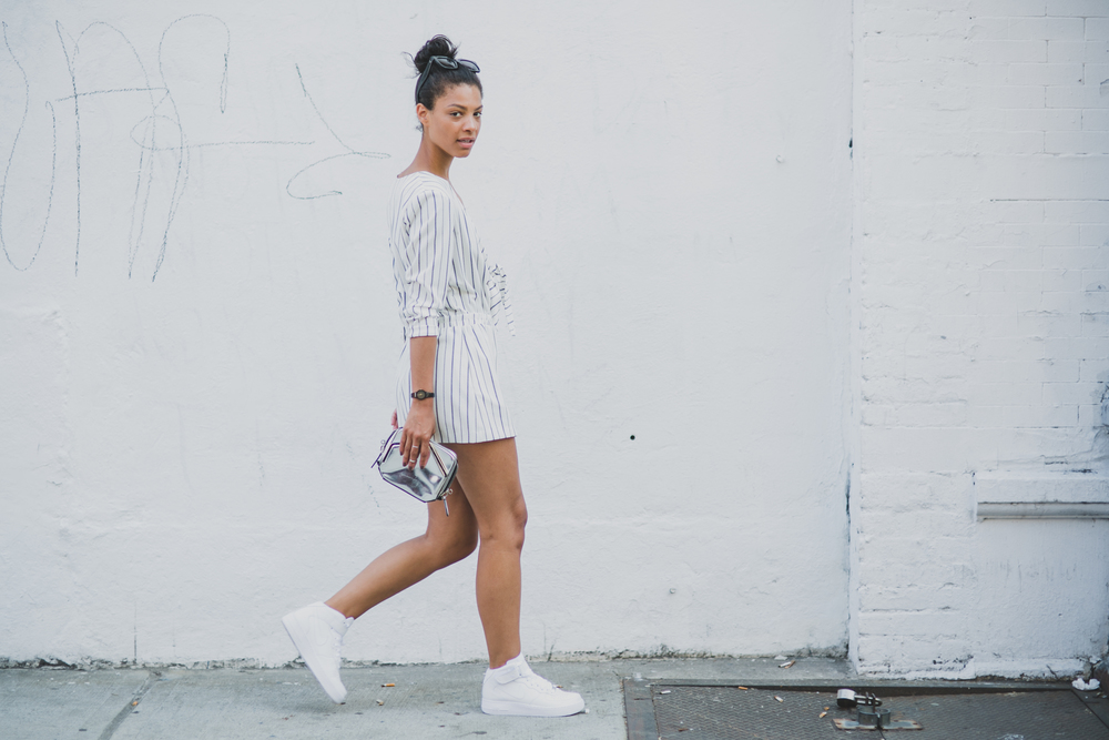 All White Air Force 1 Street Style Claire Leana Millar East Village Blogger wearing h&M Alexander Wang
