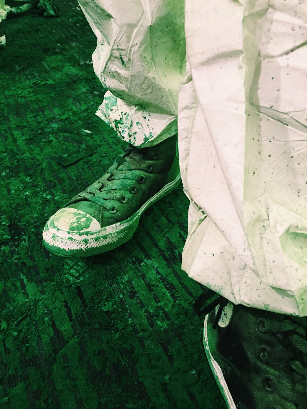 The New ChuckII Covered in pigment paint at the release of the shoe in nyc