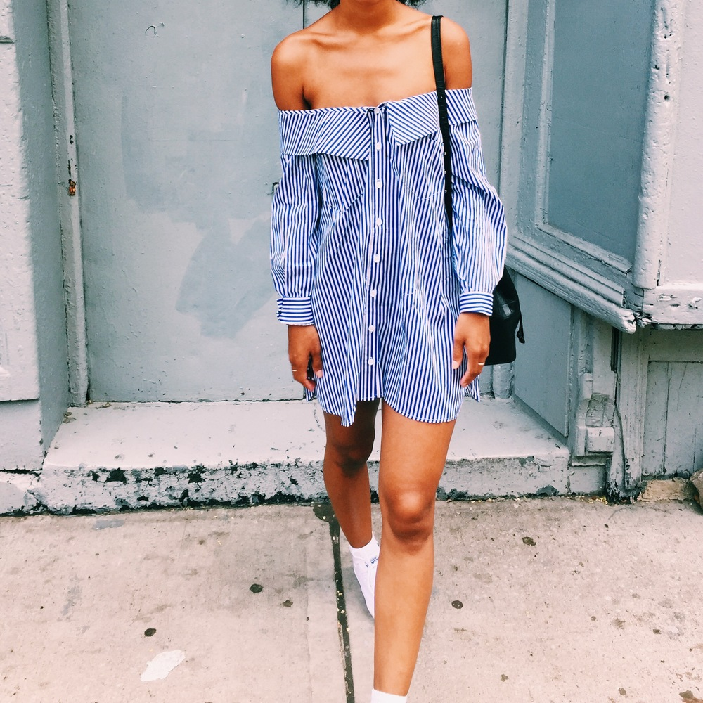 Pixie Market Off the shoulder Shirt Dress on Blogger Claire Leana Millar