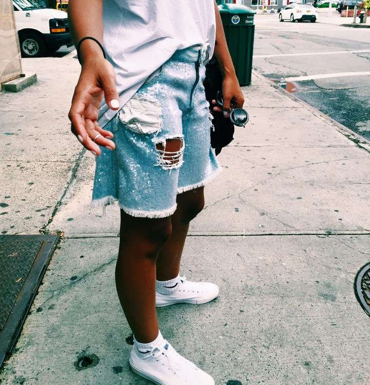 Blogger claire leana Millar Ashish sequin denim shorts