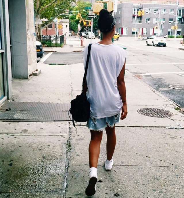 Shorts; Ashish, Shoes; Converse ChuckII, Bag Proenza, Tee; Acne