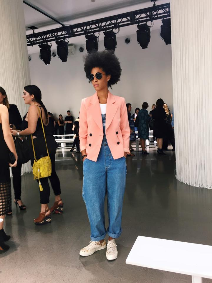 Vintage Levis Overalls, TopShop Blazer, Miu Miu Sunglasses, Missoni+Converse Sneakers