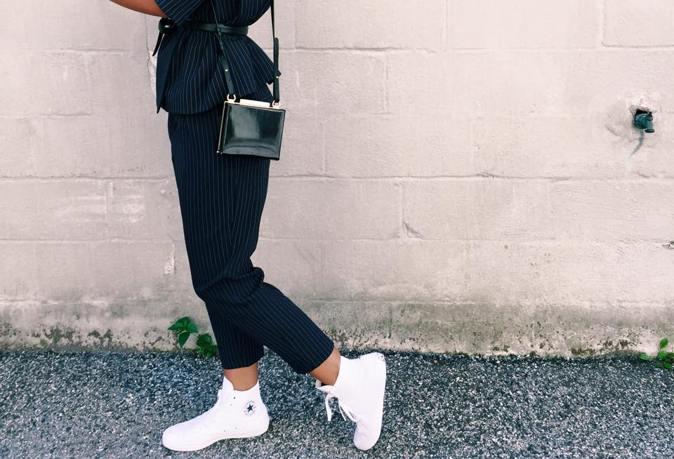 Top Shop Suit, Calvin Klein Belt, All White High-Top  ChuckII Sneakers, Zara Bag, Karen Walker Sunglasses