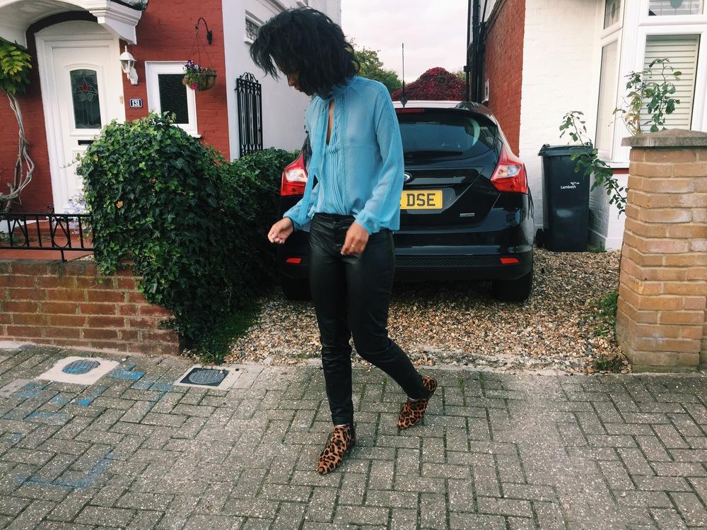 Claire Leana Millar in London Wearing Saint Laurent + Topshop