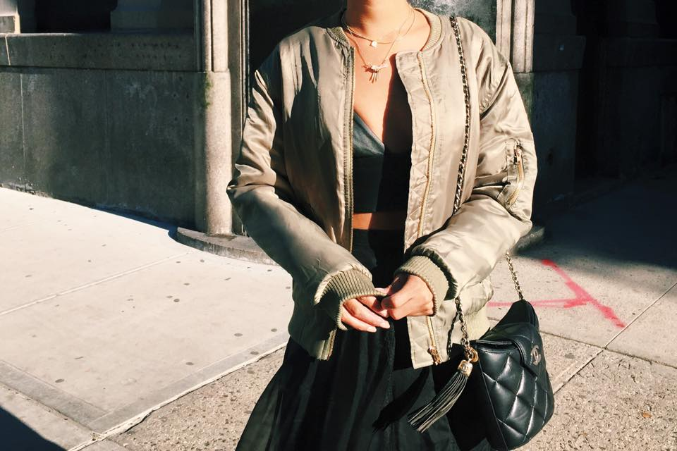 Chanel and Olive Green Bomber Jacket