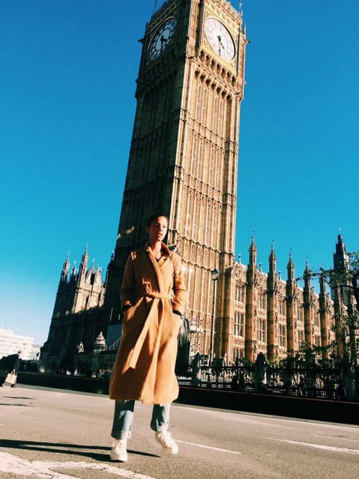 Claire Leana Millar in London at Big Ben Wearing Topshop + Converse
