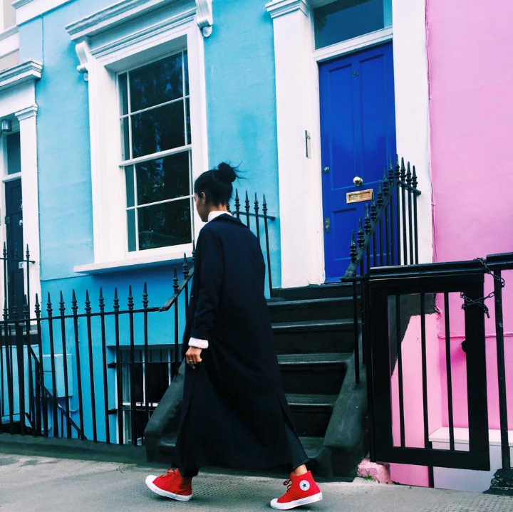 Red Converse ChuckII's on my feet, Asos Coat, Acne Denim, Zara Sweater