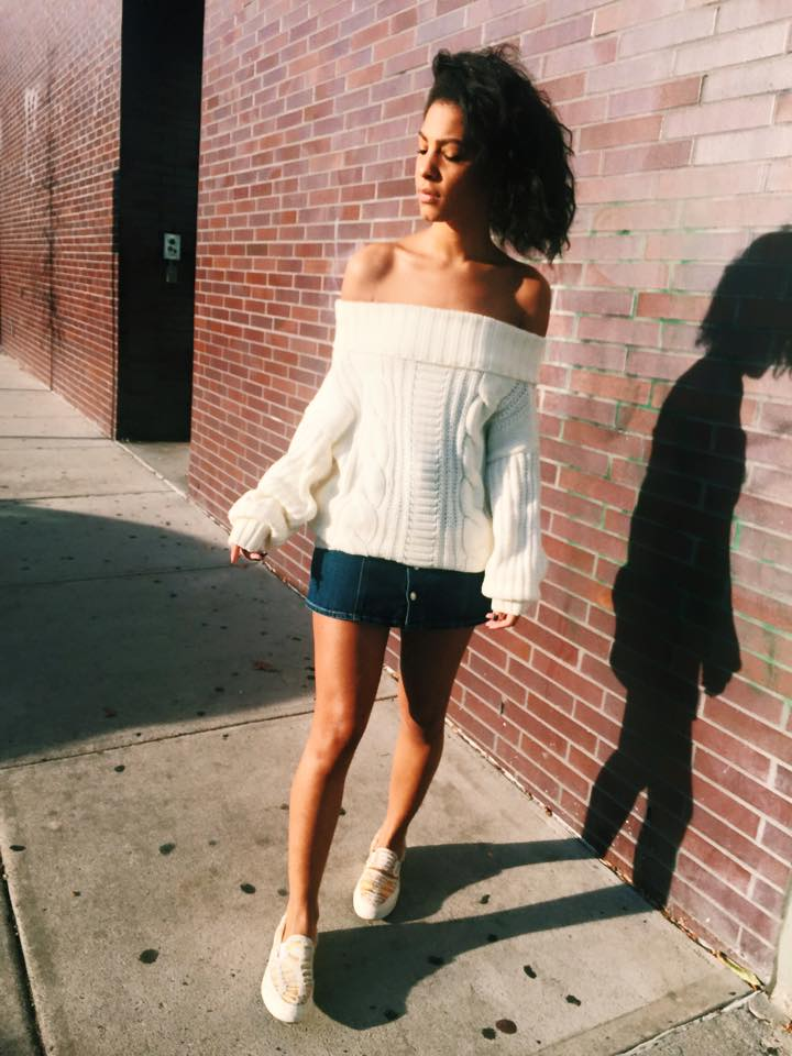 Pixie Market Sweater, AG Alexa Chung Denim Skirt, Missoni Converse Slides