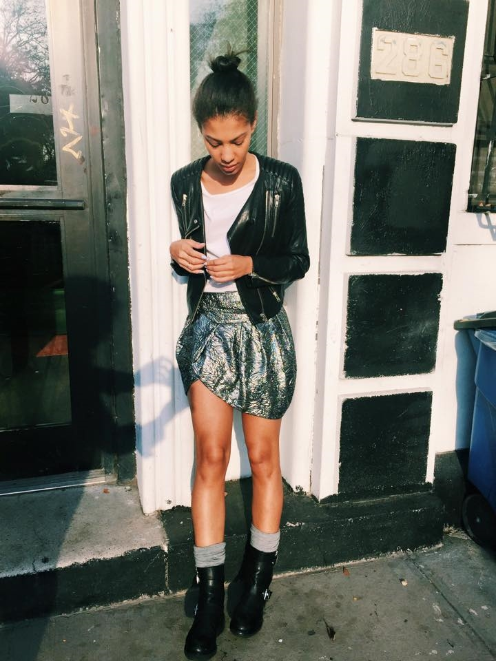 Acne Studios Tee, Isabel Marant Skirt, Pixie Market Knee Socks, Icons Leather Jacket