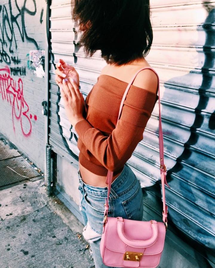 Pixie Market Top, ReDone Jeans, Miu Miu Pink Bag, Madewell Booties