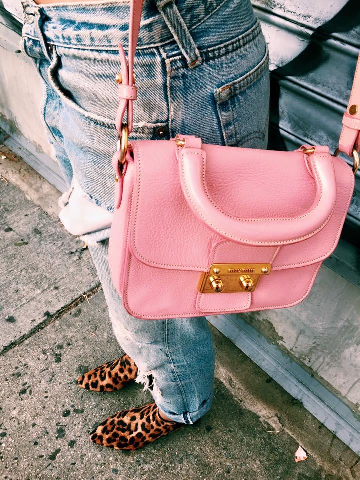 Pink Miu Miu leather over the shoulder bag gold details