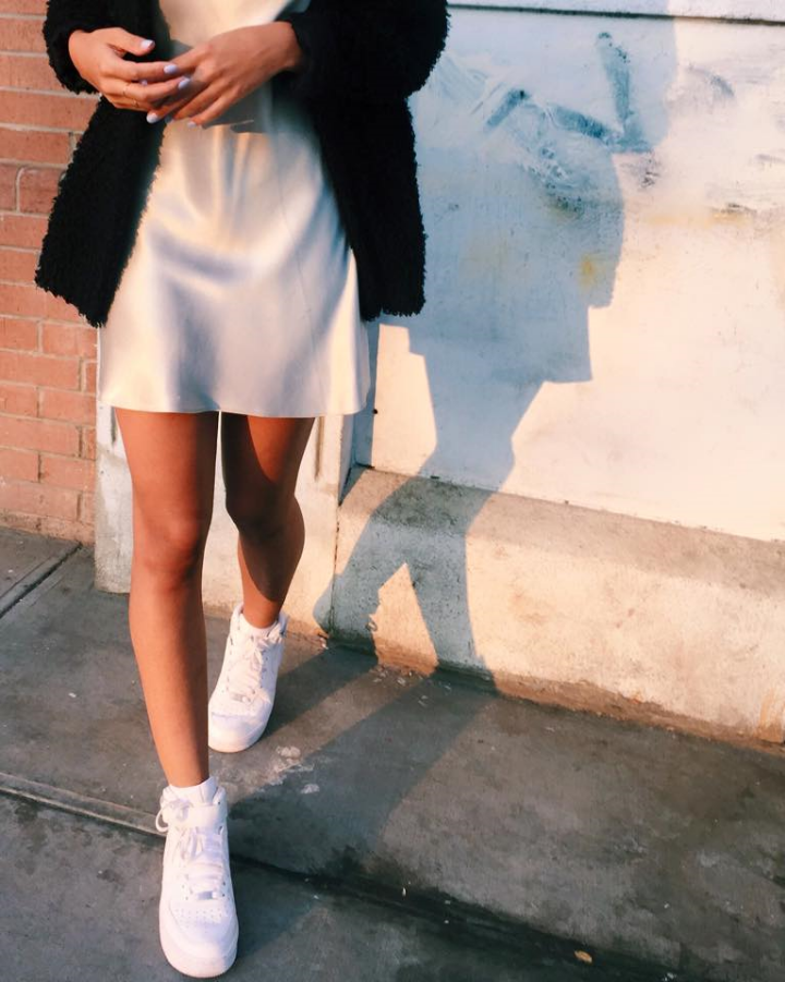 Vintage Silver Slip, H&M Coat, Nike Air Force 1s