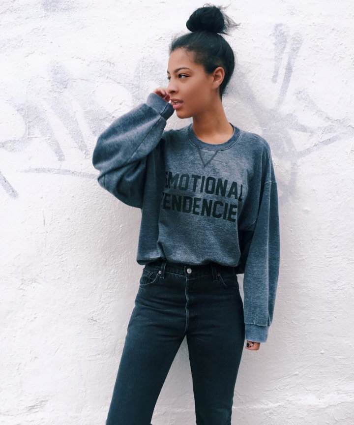 Reformation Sweatshirt, Re/Done High Waisted Cropped Jeans, Missoni Converse
