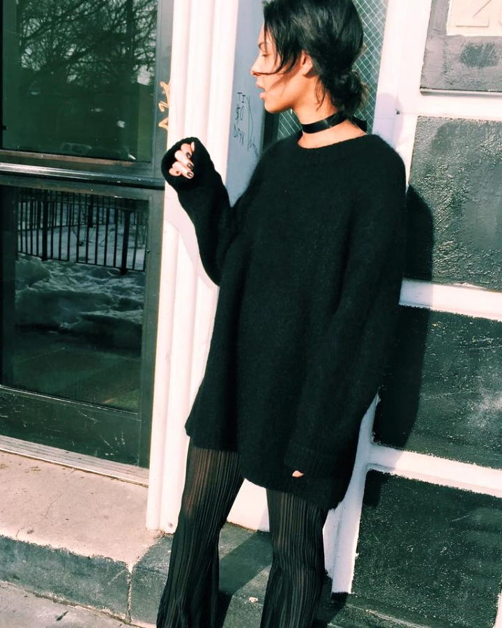 Sheer Pants oversized sweater black choker