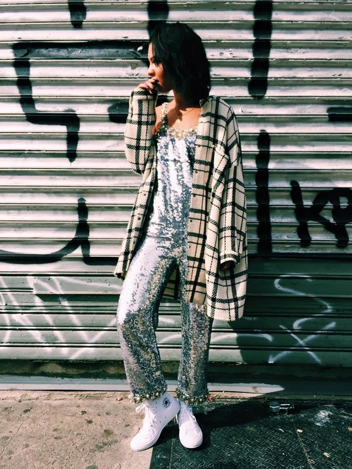 Ashish Jumpsuit, Converse ChuckII Sneakers, H&M Coat