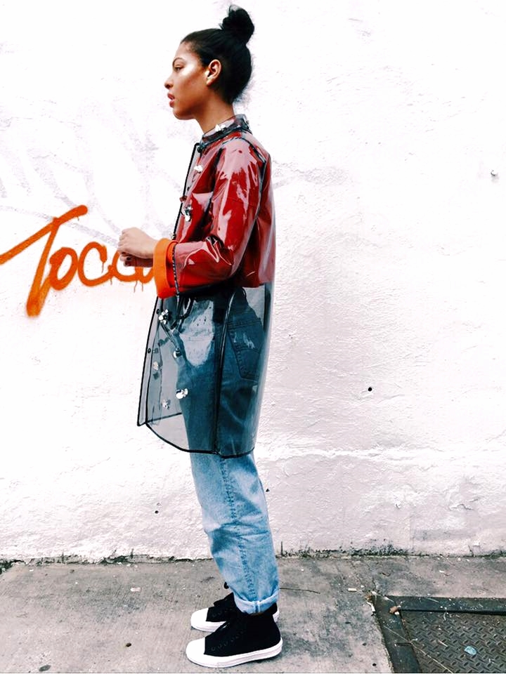 Re/Done High Waisted Denim, Converse ChuckII's, Topshop Boutique Orange Sweater, Muveil Raincoat