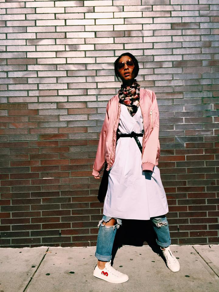 Urban Outfitters Pink Bomber, Celine Rose Sunnies, RE/Done Jeans, Acne Studios Dress, Givenchy Scarf, CK Belt, Converse Comme des Garcons sneakers.