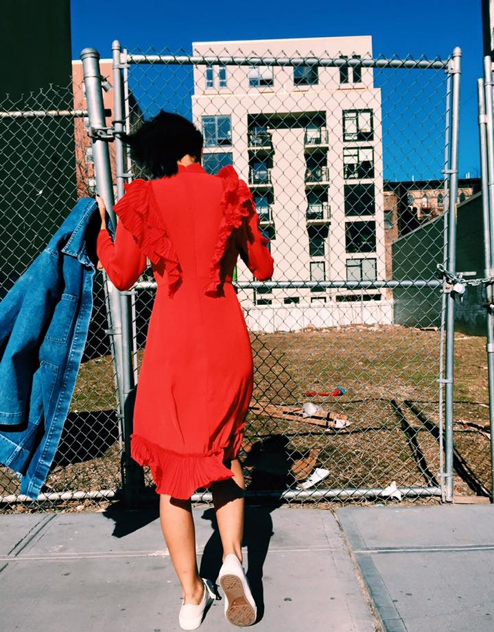 Claire Leana Millar Pixie Market Red Ruffle Dress NYFW AW16