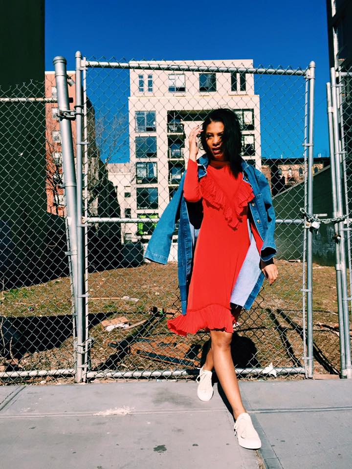 Asos Denim Duster Coat, Pixie Market Red Ruffle Dress, Cream Converse ChuckII.