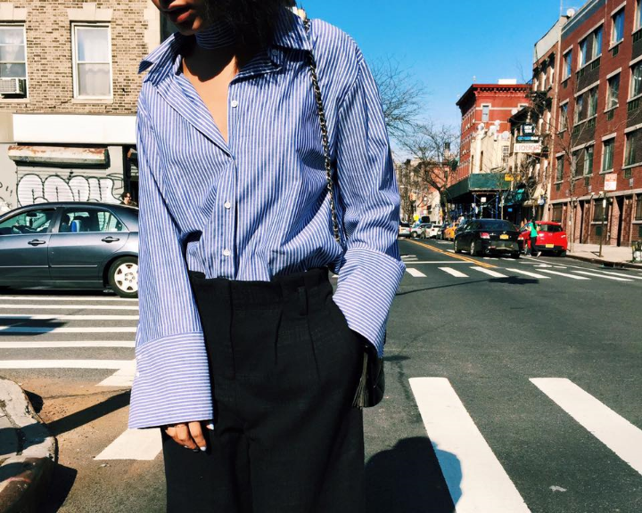 Oversized button-up shirt, menswear inspired street style on Claire Leana Millar