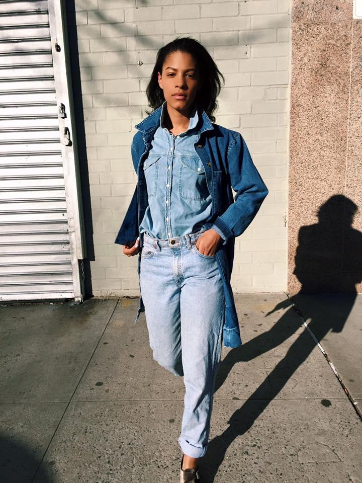 Claire Leana Millar Wearing Vintage Levis, Asos Denim Duster, Velvet Topshop Shoes