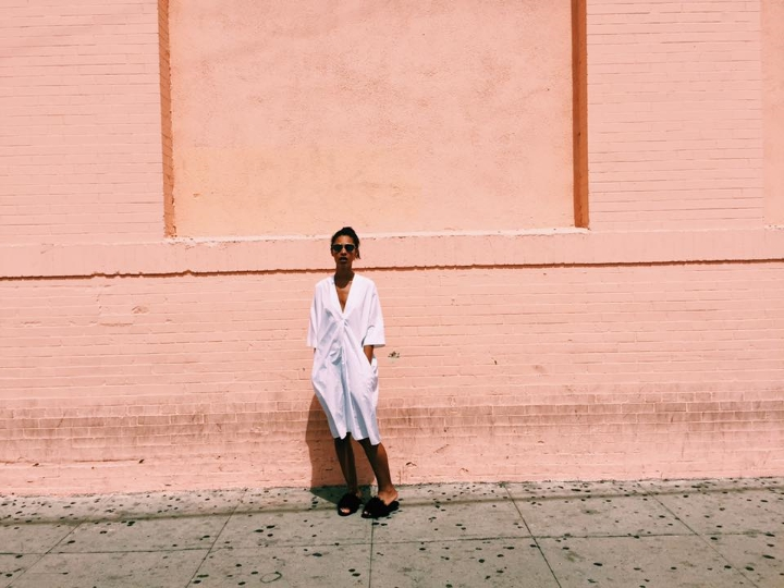 Claire Leana Millar in Downtown Hollywood Wearing Acne Studios and Topshop + Dior So Real Sunglasses