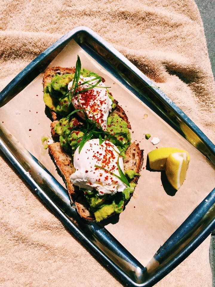 2 poached eggs and smashed avocado at The Ace Hotel Downtown LA