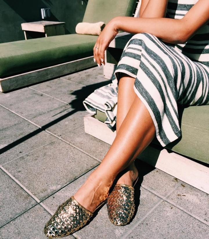 Zara Golden Slipper Slides