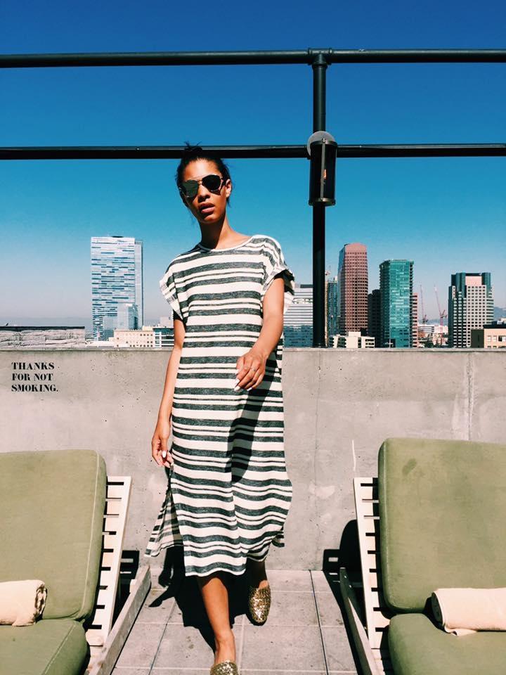 Dress & Golden Slides+Dior So Real Sunglasses