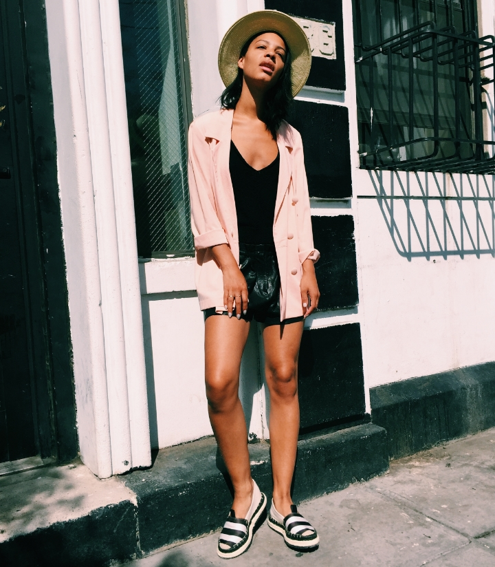 Claire leana Millar wearing blush pink double breasted blazer, Zara Knit Tank, Isabel Marant Leather Shorts, and Acne Studios Espidrills