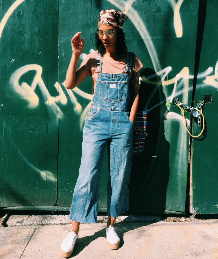 Vintage Levis Overalls, Acne Studios Blush teeshirt, Givenchy Rose Print Scarf, Clear Aviator Sunglasses on Claire Leana Millar of Fashion blog LatelyIveBeen