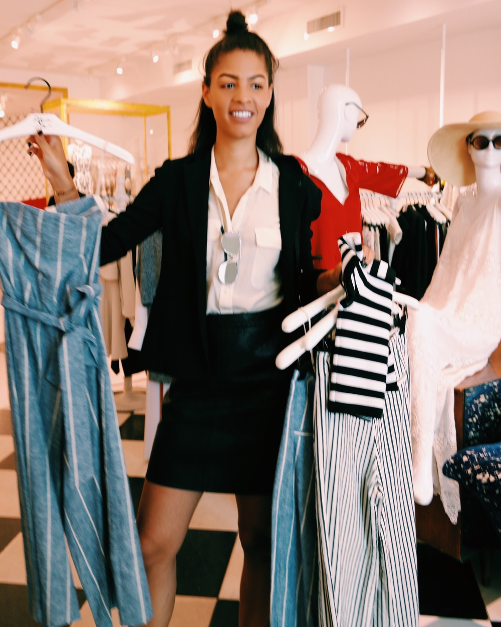 Claire Leana Millar shopping at Alice and Olivia NYC