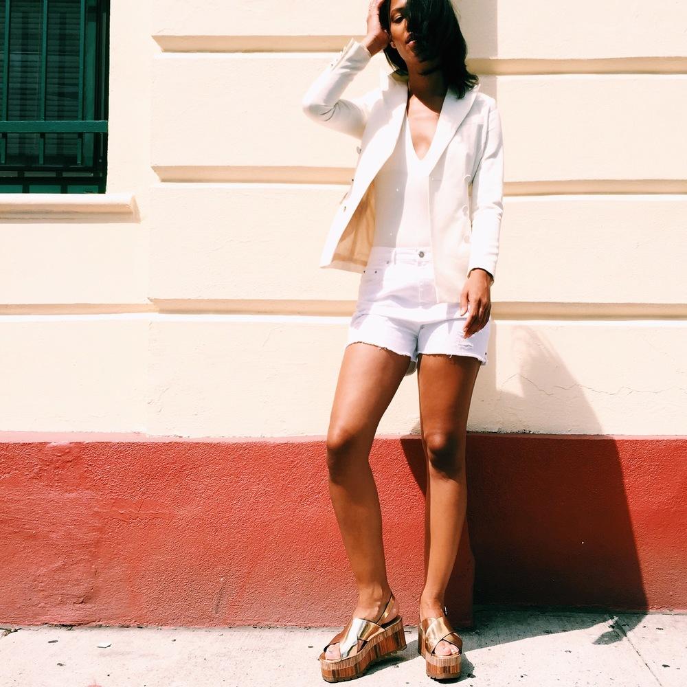Claire Leana Millar of Blog LatelyIvebeen.com : Zara Wedges w/ Cross Straps in Gold, Double-Breasted Cream Blazer (similar), Madewell White Denim Shorts.
